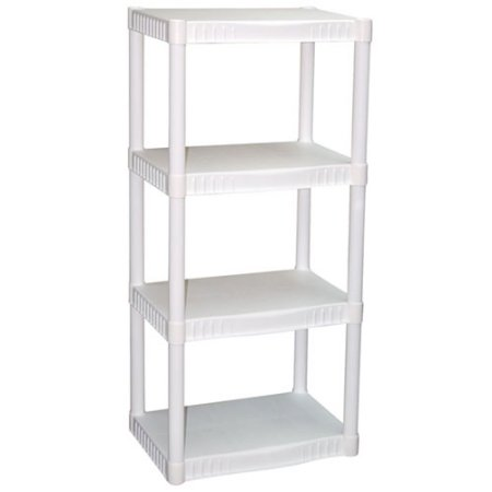 plano 4 tier heavy duty plastic shelves just kroger couponing. Black Bedroom Furniture Sets. Home Design Ideas